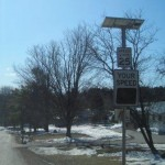 A solar-powered radar feedback speed sign in Williamstown, VT. Photo: courtesy of CVRPC